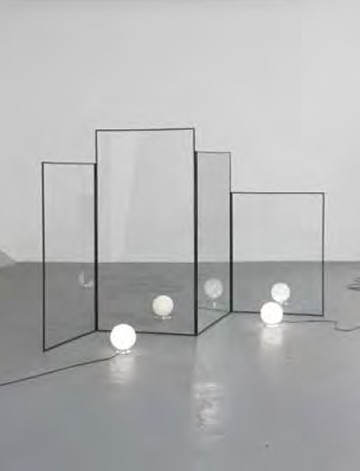 Alicja Kwade, Matter of Opinion 2012, steel frame, crystal glass, sandstone, two Art-Deco lamps, cable, light bulb Dimensions variable