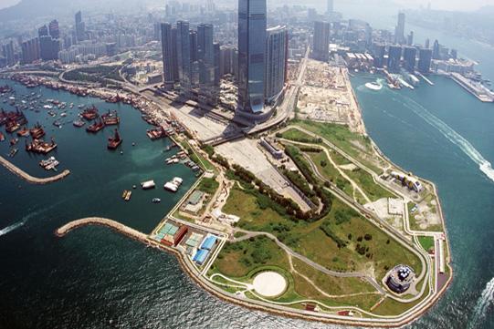 鸟瞰建设中的西九龙文化区