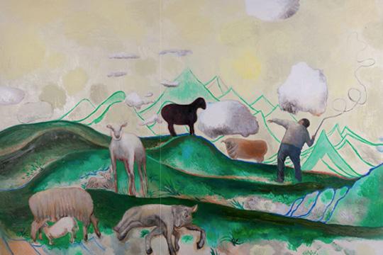 《孤独的牧羊人》,2012年,布面油画180×250厘米