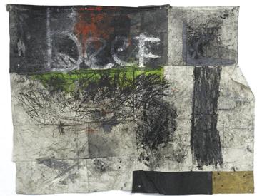 Oscar Murillo,Untitled,2012,oil, oilstick, dirt on canvas,272 x 358 cm, courtesy of the artist, Galerie Isabella Bortolozzi, Berlin,PHOTO: Nick Ash
