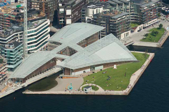 Aerial shot of the Astrup Fearnley Museet Courtesy of Astrup Fearnley Museet PHOTO: Nic Lehoux