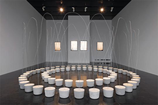 菅木志雄,《相连空间》,2010年,电线、水泥,2 2 0 × 3 2 3厘米