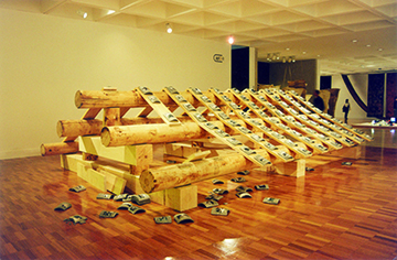 Beijing, 1999, installation, wood, tile, black-and-white photography
