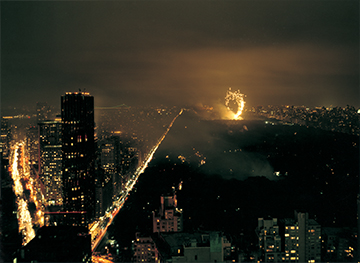 Cai Guo-Qiang, Light Cycle: Explosion Project for Central Park, realized at Central Park, 2003, New York PHOTO: Hiro Ihara Courtesy of Cai Studio