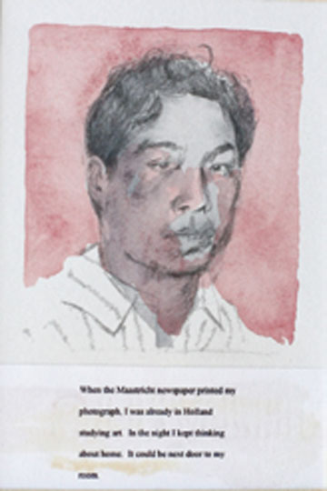 Spy portrait #2,1993, pencil, watercolor on paper, 6.5 x 10 cm