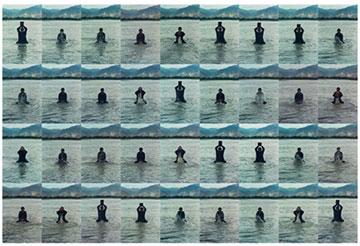 宋冬,《印水》,1996年 西藏拉萨河中行为,36张显色印刷品 每张60.5×39.9厘米