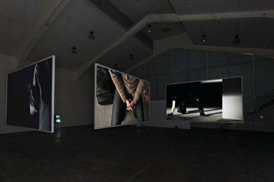 Colin Chinnery, He An, Zhang Hui, Once, 2013 Three-channel HD video loop, 6 min. 5 sec.