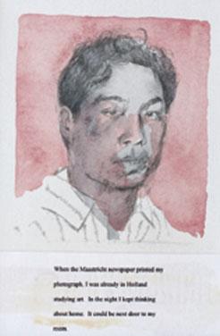 《间谍肖像#2》1993年,铅笔、纸本水彩,6.5 × 10 厘米