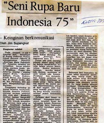 """关于1975年展览""""印尼新艺术""""的报道《交流的渴望》"""