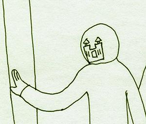 作品《坐车》中的人物脸部刻画