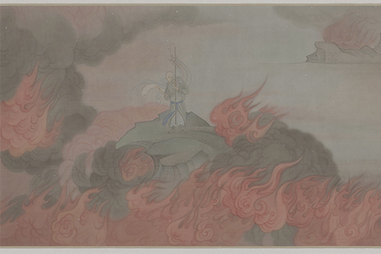 Fire and Water (detail), 2014 Ink and color on silk scroll, colophon on silk mounting by Bai Qianshen with three seals 65 x 1130 cm (65 x 1560 cm mounted)