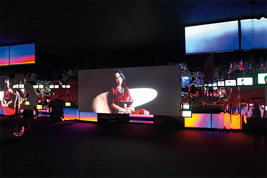 Cheng Ran, Always I Trust, 2014 HD video, light boxes, installation