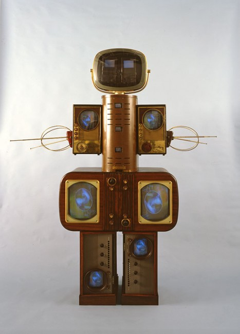 Family of Robot: Mother, 1986. Single-channel video sculpture with vintage television and radio casings and monitors; tuner; liquid crystal display; color;silent. 78 x 61 1/2 x 20 3/4 in. (203 x 156 x 53 cm). Nagoya City Art Museum. Image courtesy of Nagoya City Art Museum.