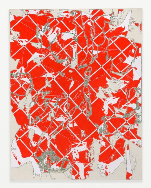Two Grids (Red with Green), 2014 Oil on canvas 35h x 27w in. Courtesy of Shane Campbell Gallery