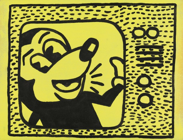 Haring Tag July 15 1981 1985, sumi ink and acrylic on cloth, 25 x 32.5 cm PHOTO: Prallen Allsten. Courtesy of Estate Sturtevant, Paris, and Galerie Thaddaeus Ropac, Paris–Salzburg