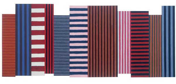 后与前,亚麻与布面油画,243.8 x 609.6厘米