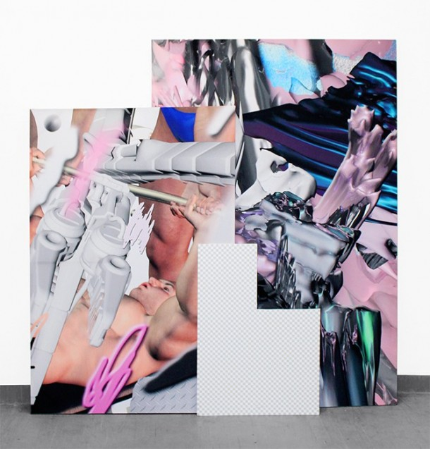 """EAT U UP,"" 2014  left: inkjet and acrylic on silk (100 x 150 cm), right: inkjet on silk (120 x 180 cm),  bottom: digital print on polystyrene (60 x 85 cm) Courtesy of the artist"