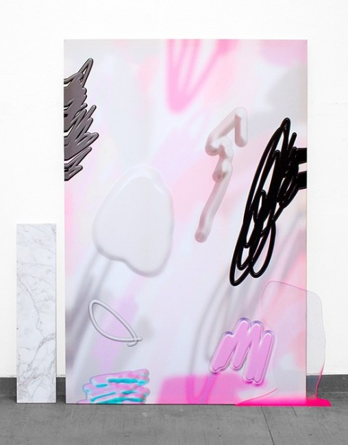 """EAT U UP,"" 2014 inkjet and acrylic on silk, acrylic on plexiglass cutout, marble slab, 120 x 180 cm  Courtesy of the artist"