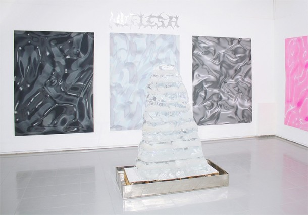 """NUFLESH,"" 2013,  inkjet on silk (120 x 180 cm), ice sculpture (150 x 90 x 70 cm),  mirrored plexiglass cutout (125 x 35 cm), video (40 sec.) Courtesy of the artist"