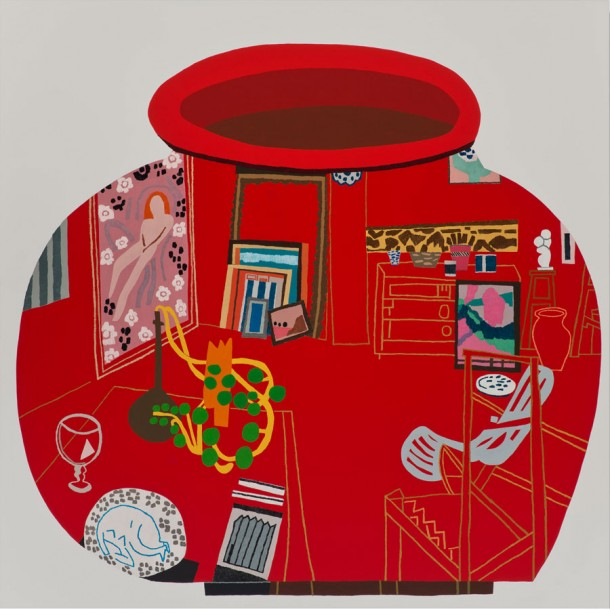Jonas Wood, Red Studio Pot, 2014 Oil and acrylic on canvas, 182.9 x 182.9 cm Courtesy Gagosian Gallery