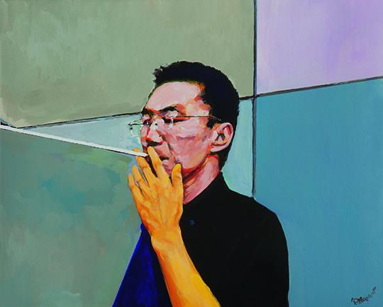 余极,《绝对是》,2014年,纸本丙烯,40 × 50 厘米