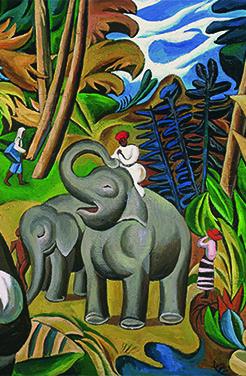 大象和小象,Adult and Baby Elephants,布面油画,Oil on Canvas,230X260cm,2014(1)