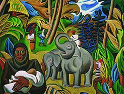 大象和小象,Adult and Baby Elephants,布面油画,Oil on Canvas,230X260cm,2014(2)