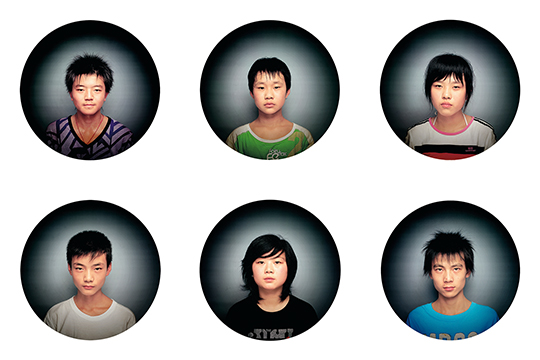 Dong Jun, Next China, 2005, photography, 120 x 120 cm each. Young models employed in life drawing classes.