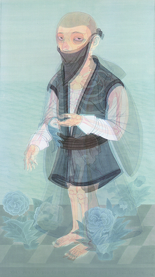 Hao Liang, Invisible Cloak, 2009 Ink on silk, sreen print, acrylic, 80 x 160 cm