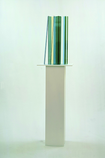 New Buildings for Berlin, 2004, Glass and silicone on wood pedestals (four parts), 220 x 60 x 179.7 cm (overall), 220 x 60 x 45 cm (each), Courtesy of David Zwirner, New York/London.