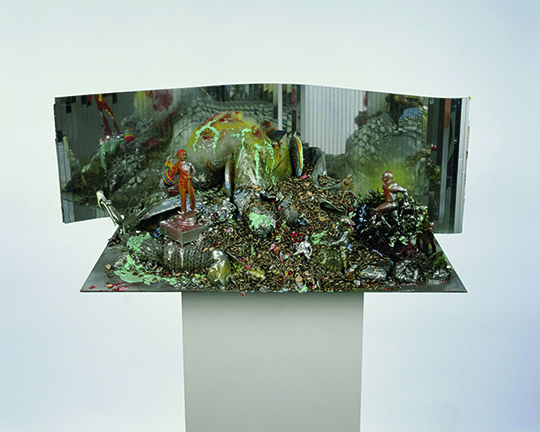 Empire/Vampire III, 2004, Synthetic polymer paint on metal, mirror foil, and plastic on wood pedestal, 166 x 77 x 50 cm, Collection of Wolfgang Tillmans.