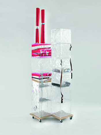 Memorial Tower (Ground Zero), 2008, Plastic, tape, spray paint, acrylic, mirror foil, film strip, color print on paper, MDF, casters, 316 x 80.5 x 90 cm, Courtesy of the artist, Hauser & Wirth, London, and Galerie Buchholz, Cologne/Berlin