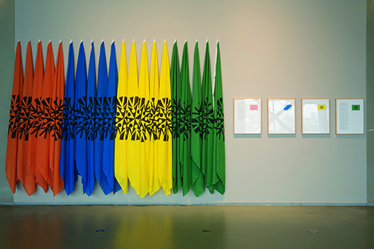 Art & Language, Flags for Organizations, 1978, Mixed media installation Courtesy the artists and Lisson Gallery, London