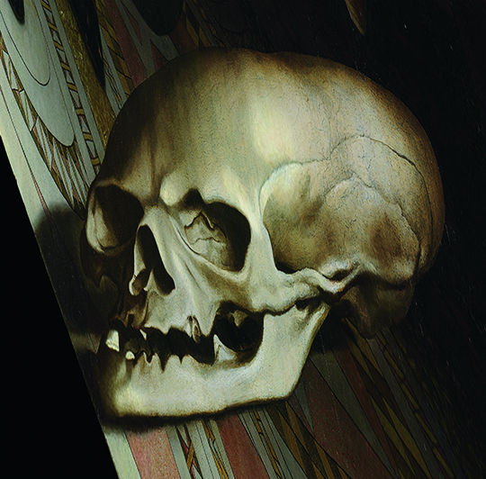 The anamorphic skull, viewed properly