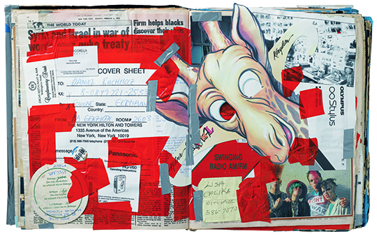 I Love New York, Crazy City, 1995–1996, paper, gelatin silver and chromogenic color prints, and tape, in three books, 39 x 32 x 7 cm (each), Collection of the artist.