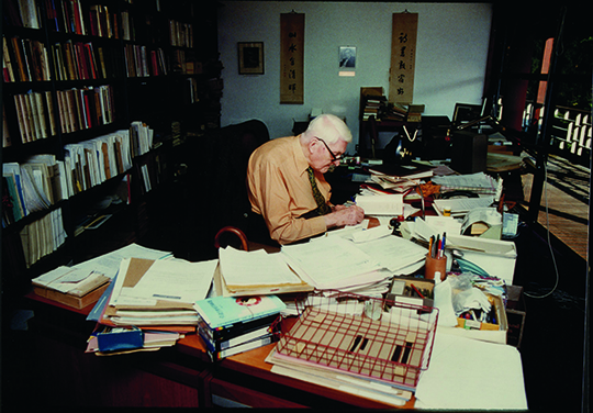 Dr. Needham in his office at the The Needham Research Institute, c. 1990, Cambridge