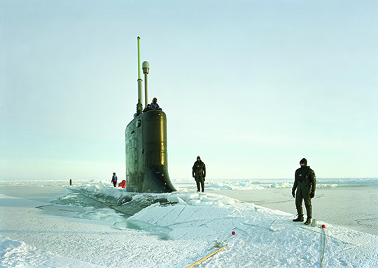 An-My Lê, Ship Divers, Ice Exercise, USS New Hampshire, Arctic Seas, 2011, archival pigment print, 101.5 x 143.5 cm, Courtesy of the artist and Murray Guy, New York