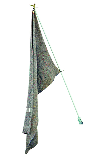Reena Spaulings, Flag, 2010, Moving blanket, tape, grommets, aluminium pole, plastic eagle, 91.4 x 152.4 cm, Courtesy Campoli Presti, London