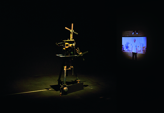 24 x 18. Half I, 2008 - 2014, 35 mm film, slide projector, 170 x 70 x 70 cm, Kao Chung-Li projects deliberately unclear shadows, drawing attention to the mechanical apparatus of the projector.