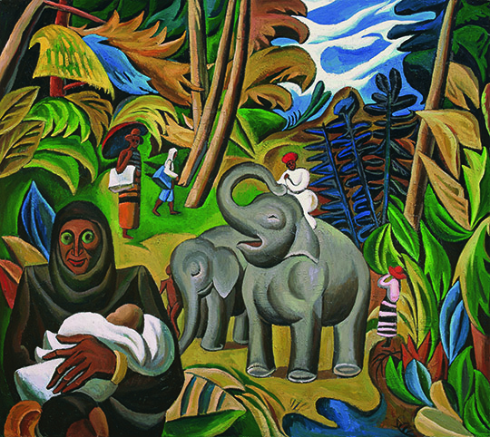 Adult and Baby Elephants, 2014, Oil on canvas, 230 x 260 cm
