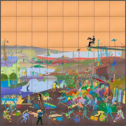 《死亡的胜利》,2015年,亚麻布面丙烯,800 x 800 厘米
