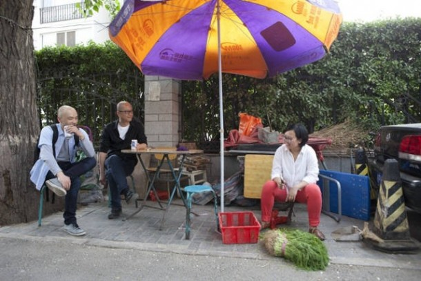 From left: artists Wang Guangle, Zhang Hui, and LEAP's Marketing Manager Zhang Yueyue