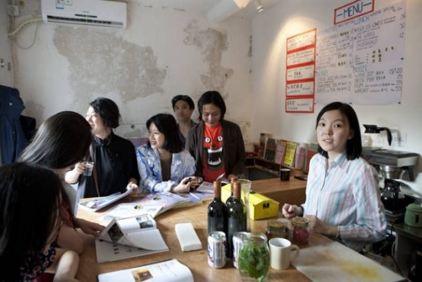 LEAP's Process Editor Wu Di bartending for the day