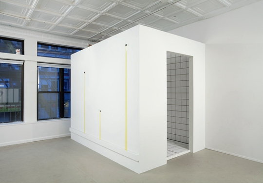 Anicka Yi, Auras, Orgasms, and Nervous Peaches, 2011 Wood, tile, olive oil, 243.8 x 50.8 x 203.2 cm Courtesy 47 Canal PHOTO: Joerg Lohse