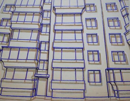 张慧,《蓝图.2楼》,2014年 布面丙烯,200 × 250 厘米