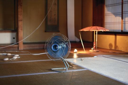 《地上的马戏》,2014年,指南针、化石、铃、花园 家具、羽毛、尺子、电灯、雨伞、发动机、卷纸、图片,尺寸可变:约为250 × 1200 × 1200 厘米