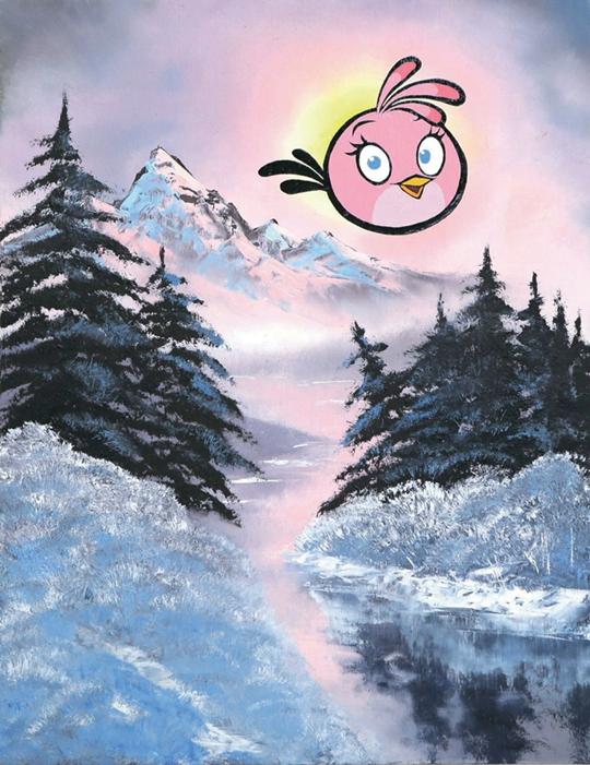 瑞秋·洛德,《雾山与思黛拉》,2013年,板上油画颜料和瓷漆,45.7 × 61 × 2.5厘米