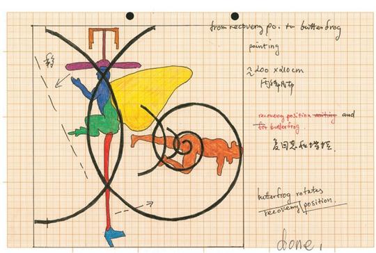 吴山专和英格-斯瓦拉•托斯朵蒂尔,《蝶蛙进入Kuo Xuan》(草图),2011年,纸上彩铅、钢笔,21 × 29 厘米