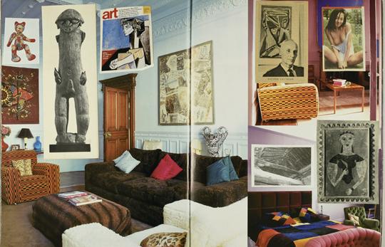 """夏碧泉精心制作的剪贴册页面,在大开本精装室内设计图书上 拼贴,犹如在书页上""""做展览""""。"""