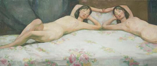 《无题(左右)》,2013年,布面油彩,110 × 260 厘米
